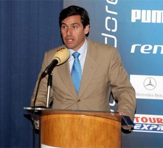Carlos Gasc�n, presidente de la LNFS, en la presentaci�n de la Liga de F�tbol Sala que se retransmitir� on line