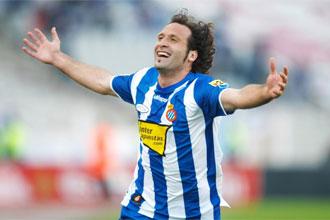 Rufete celebra un gol con el Espanyol.
