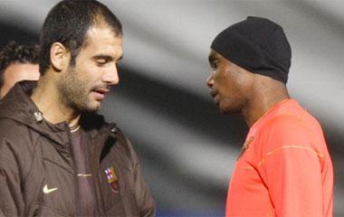 Pep Guardiola y Samuel Etoo