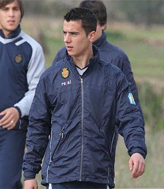 Sergio Tejera, en un entrenamiento con el primer equipo del Mallorca.