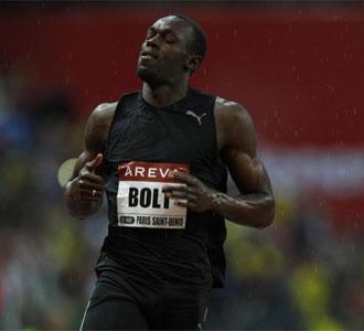 Usain Bolt, durante la disputa de la prueba de los 100 metros en la Golden League disputada este mes en París