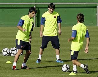 Messi durante el entrenamiento de este martes.