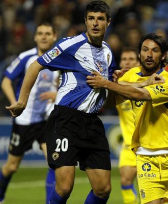 C�sar Mart�n durante un partido con el H�rcules de la pasada temporada.