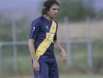 Sergio Sánchez, en uno de sus últimos entrenamientos con el Espanyol