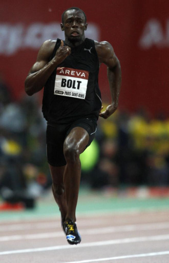 Usain Bolt durante la carrera de 100 metros en Par�s.