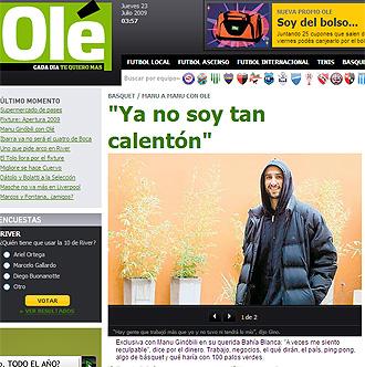 Portada digital de Olé con la entrevista a Ginóbili
