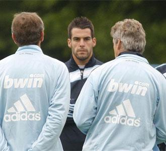 Negredo, en un entrenamiento con el Real Madrid.