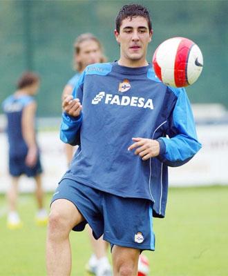 Rodri durante un entrenamiento del Deportivo.