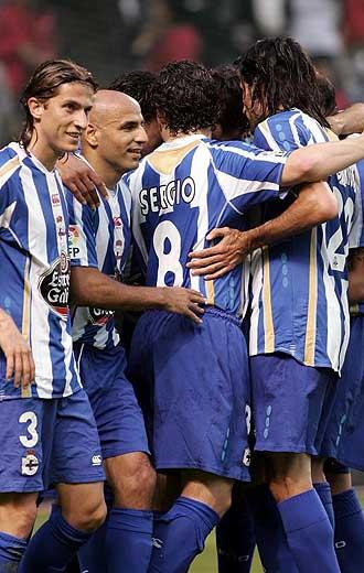El Deportivo celebra un gol durante un partido de liga