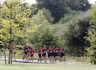 El Sporting durante un entrenamiento