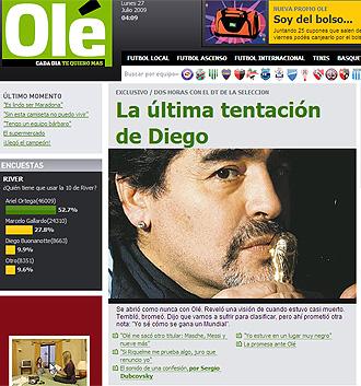Entrevista a Maradona en el diario Olé