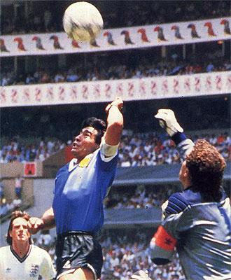 Peter Shilton, en el momento de la mano de Dios de Maradona en el Mundial de M�xico