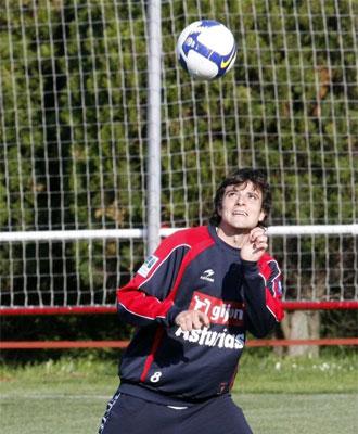 Michel en un entrenamiento del Sporting.