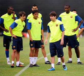 Los jugadores del Barcelona en un entrenamiento en Los Ángeles