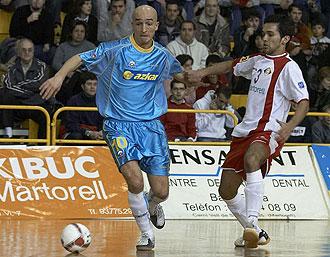 Riquer durante un partido con el Azkar Lugo hace tres temporadas