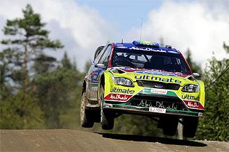 Hirvonen, en el rally de Finlandia.