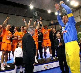 El Barcelona Borges celebra la Copa del Rey conseguida ante el Ciudad Real la pasada temporada