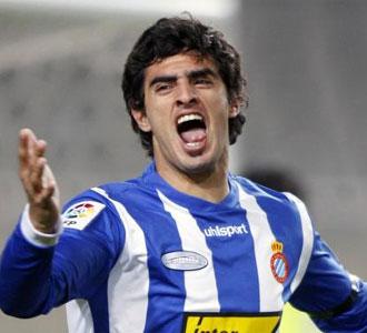 Mart�nez celebra un gol del Espanyol la pasada campa�a
