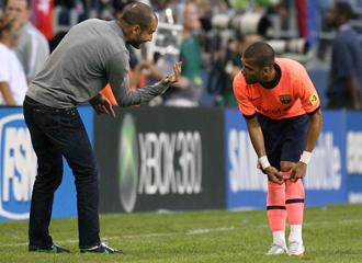 Guardiola ped�a m�s a sus jugadores pese a la goleada