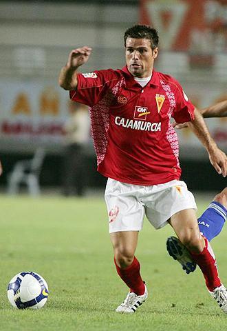 Quique de Lucas, durante un partido del Murcia de la pasada temporada