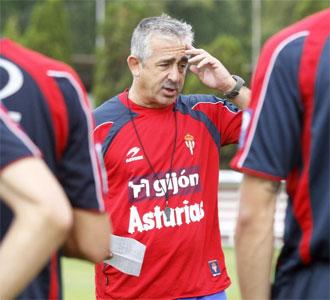 Manuel Preciado, en un entrenamiento con el Sporting de Gijón