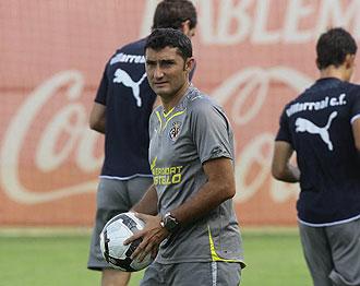 Valverde durante un entrenamiento con el Villarreal