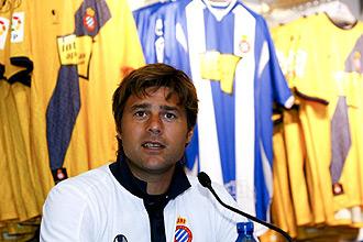 Mauricio Pochettino durante la inauguraci�n de la nueva tienda del Espanyol