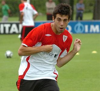 Susaeta, en un entrenamiento con el Athletic de Bilbao en esta pretemporada