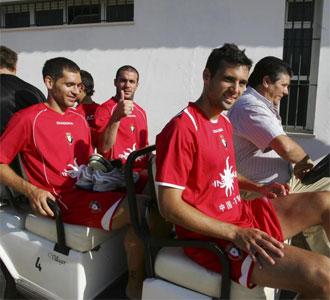 Jugadores del Osasuna en el hotel de concentraci�n durante la pretemporada