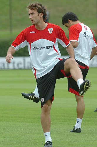 Ander Murillo, durante un entrenamiento con el Athletic de esta pretemporada