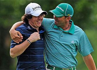 Sergio García bromea con Rory McIlroy.