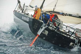 Anna en plena regata durante la Mini Barcelona 2008.