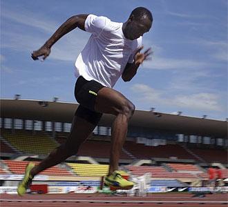 Bolt, durante un entrenamiento