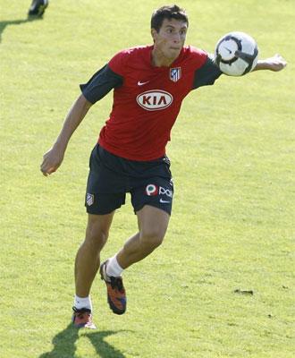 Borja durante un entrenamiento del Atlético.
