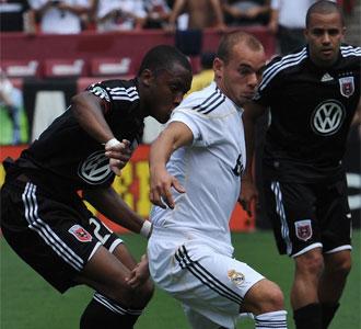 Wesley Sneijder, en el partido contra el DC. United durante la gira americana del Real Madrid en esta pretemporada