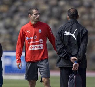 Juanlu Hens, en un entrenamiento con el Tenerife