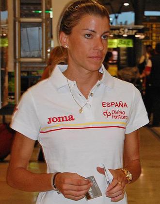 Eva Arias en la salida del equipo español