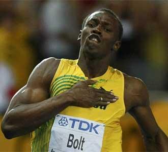 Bolt celebra la victoria