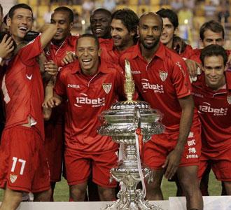 Los jugadores del Sevilla celebran el Carranza