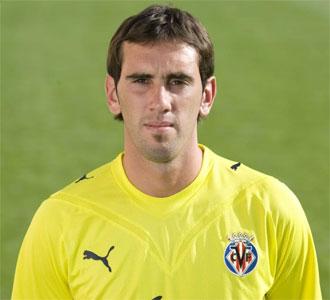 Godín, en las sesión de fotos previa al inicio de la temporada con el Villarreal