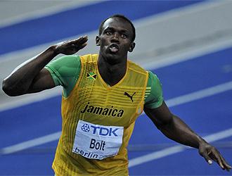 Bolt celebra su otro momento de gloria