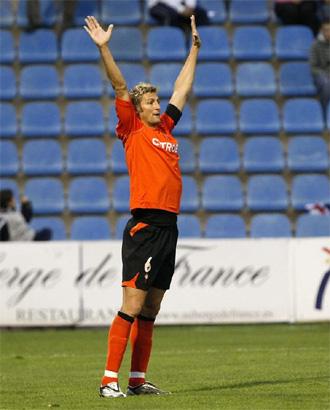 Rubén, durante un entrenamiento del Celta de Vigo.
