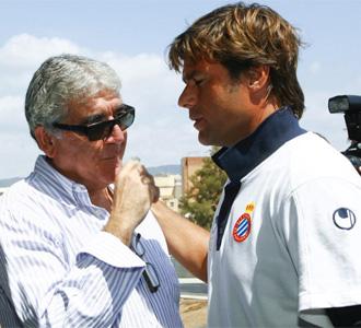 Daniel Sánchez Llibre, presidente del Espanyol, junto con el técnico Mauricio Pochettino
