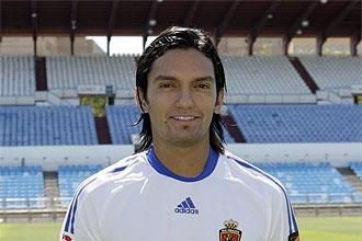 Abel Aguilar, durante su presentación con el Zaragoza