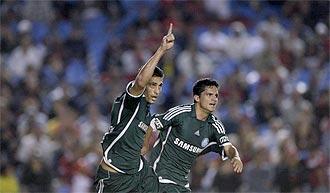Los jugadores del Palmeiras celebran un gol.