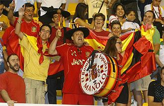 Los aficionados de la selección durante el España-Macedonia