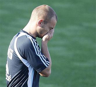 Sneijder durante un entrenamiento con el Madrid