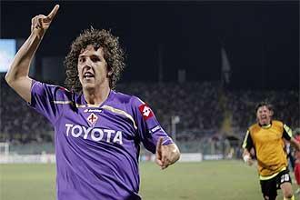 Stefan Jovetic celebra el gol que clasificaba a la Fiorentina.