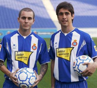 Juan Forlín y Fernando Marqués, en su presentación como nuevos jugadores del Espanyol