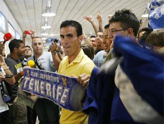 Alfaro, a su llegada a Tenerife